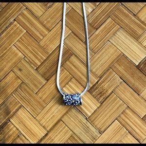 Iolite sterling silver slide pendant w/chain
